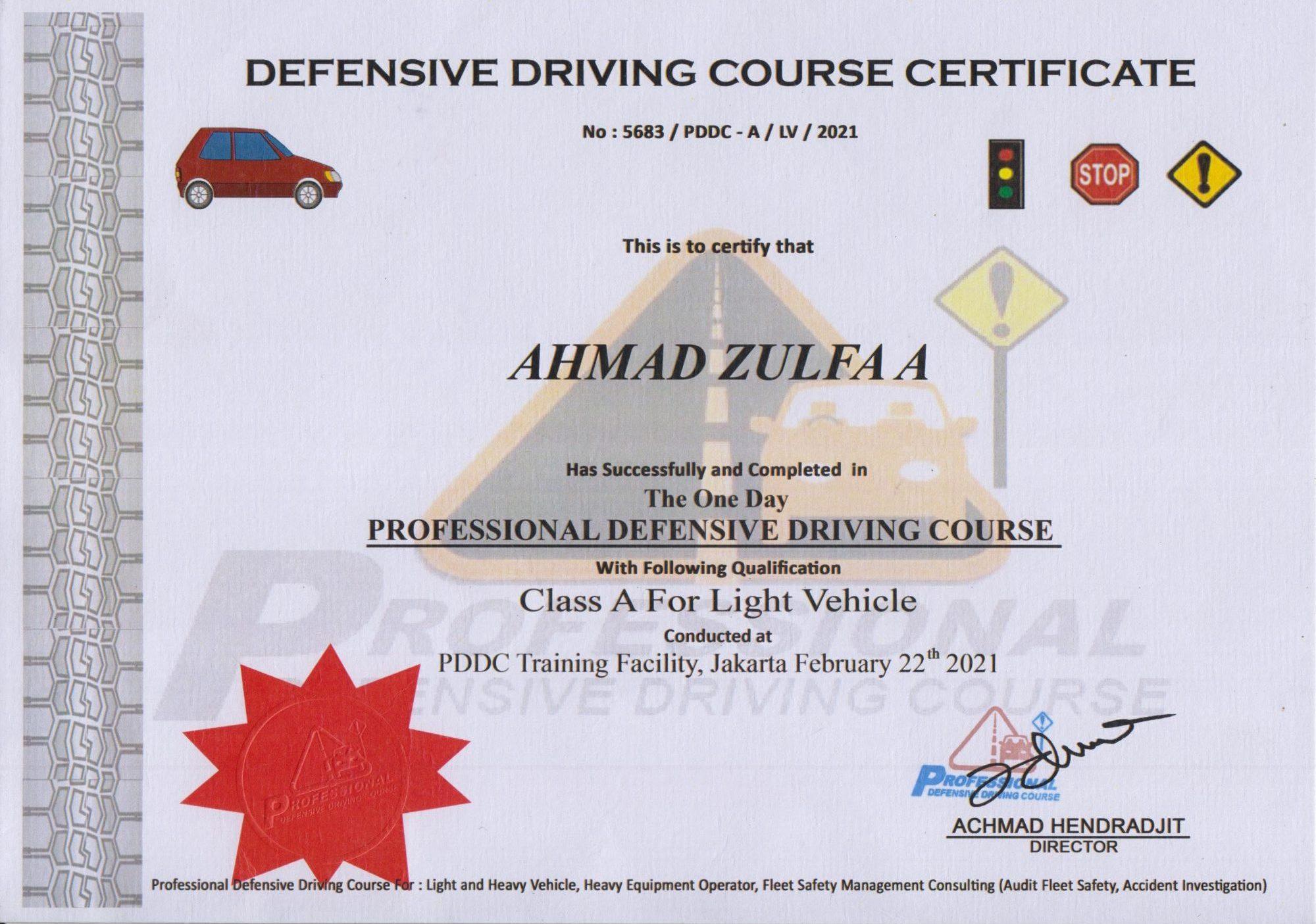 Sertifikat Pelatihan Defensive Driving